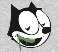 Green ooze vintage cartoon cat Kids Clothes