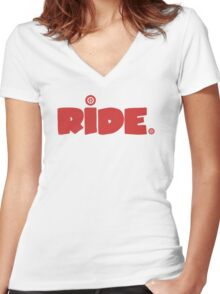 Ride. Women's Fitted V-Neck T-Shirt