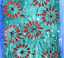 """Original painting print Abstract painting landscape 7"""" x 5"""" painting red flowers from hannah glanvill fast and free shipping by goartit"""