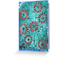 """Original painting print Abstract painting landscape 7"""" x 5"""" painting red flowers from hannah glanvill fast and free shipping Greeting Card"""