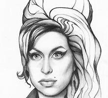 Amy Winehouse Portrait Drawing Art by OlechkaDesign