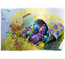 EASTER EGGS IN A BASKET WITH CHICKEN Poster
