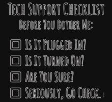 Tech Support Checklist One Piece - Short Sleeve