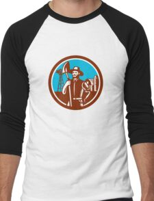 Organic Farmer Shovel Windmill Woodcut Retro Men's Baseball ¾ T-Shirt