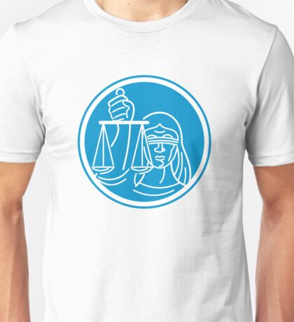 Lady Blindfolded Hold Scales Justice Circle Unisex T-Shirt