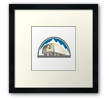 Container Truck and Trailer Retro Framed Print