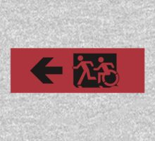 Accessible Means of Egress Icon and Running Man Emergency Exit Sign, Left Hand Arrow Kids Tee