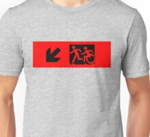 Accessible Means of Egress Icon and Running Man Emergency Exit Sign, Left Hand Diagonally Down Arrow Unisex T-Shirt