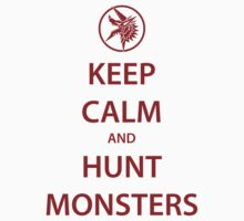 KEEP CALM and HUNT MONSTERS (red) Kids Clothes