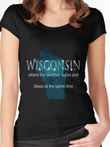 Wisconsin Weather Sucks and Blows Women's Fitted Scoop T-Shirt
