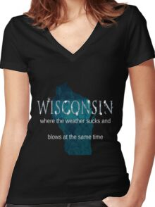 Wisconsin Weather Sucks and Blows Women's Fitted V-Neck T-Shirt