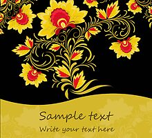 Ornamental khokhloma floral postcard with seamless stripe by lilileka