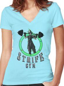 Strife's Gym! - Final Fantasy Women's Fitted V-Neck T-Shirt
