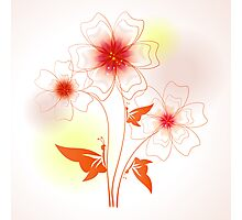 Funny colorful illustration with abstract flowers and butterfly Photographic Print