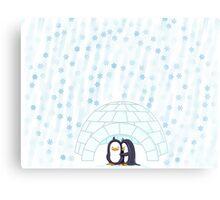 Penguins In Igloo While Snowing Art Metal Print