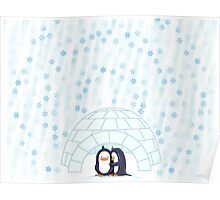 Penguins In Igloo While Snowing Art Poster
