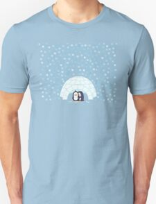Penguins In Igloo While Snowing Art T-Shirt