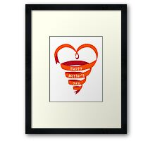 Happy mothers day, red heart ribbon Framed Print