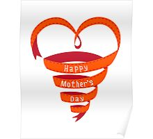Happy mothers day, red heart ribbon Poster