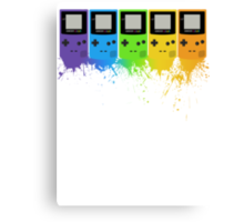 Gameboy Rainbow Tee Canvas Print
