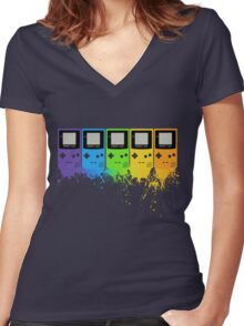 Gameboy Rainbow Tee Women's Fitted V-Neck T-Shirt