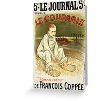 Reproduction of a poster advertising the novel Le Coupable Greeting Card