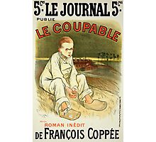 Reproduction of a poster advertising the novel Le Coupable Photographic Print