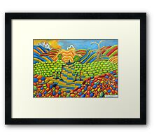 405 - THE WALL OF FRIENDSHIP - I - DAVE EDWARDS - COLOURED PENCILS & FINELINERS - 2014 Framed Print