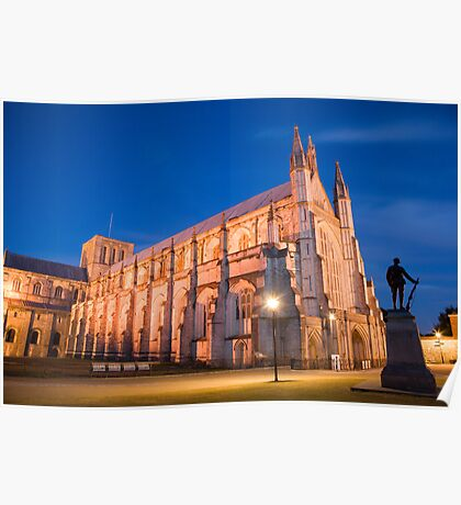 Winchester Cathedral at dusk Poster