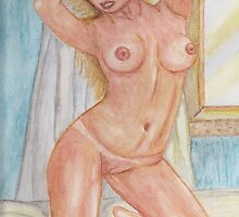 Morning Pose Watercolor  (Nude) by Linda Allan