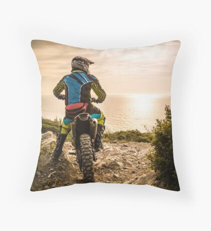 Enduro bike rider Throw Pillow