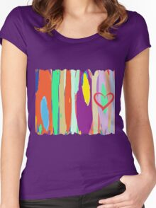 Watercolor palette in stripes Women's Fitted Scoop T-Shirt