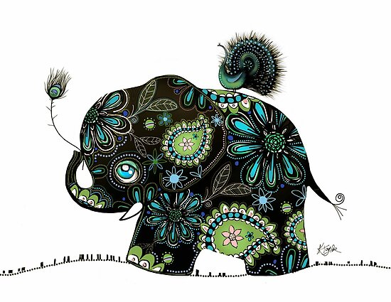 The Elephant and the Peacock by © Karin  Taylor