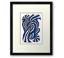 Blue Retro Stripes Framed Print