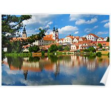 Telc Town River Reflection Poster
