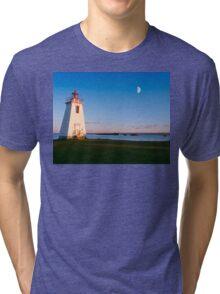 Lighthouse in moon light  Tri-blend T-Shirt
