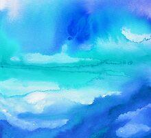 Rise 2 - Abstract Blue Watercolor by Jacqueline Maldonado