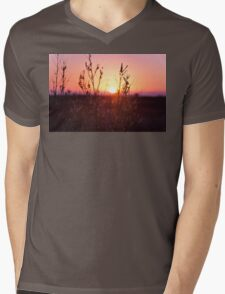 Grass Silhouette with a beautiful sunset Mens V-Neck T-Shirt