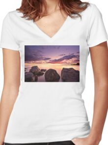 Sea at sunset with some motion blur water Women's Fitted V-Neck T-Shirt