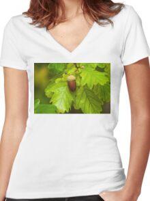 Fruit of an Oak tree ripe in autumn Women's Fitted V-Neck T-Shirt