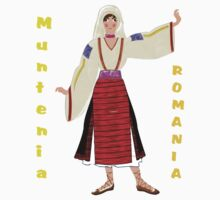 A  Muntenia Romanian Female Old Fashioned Peasant Costume T-shirt One Piece - Short Sleeve