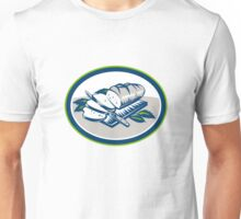 Bread Loaf Knife Woodcut Retro Unisex T-Shirt