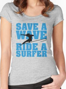 Save a wave, ride a Surfer Women's Fitted Scoop T-Shirt