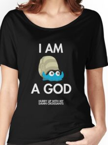 Twitch Plays Pokemon: I Am A God (Featuring Croissants) - Dark with White Text Women's Relaxed Fit T-Shirt