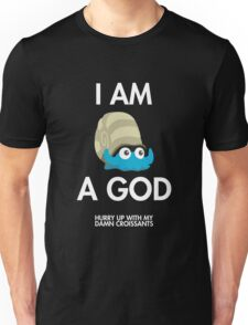 Twitch Plays Pokemon: I Am A God (Featuring Croissants) - Dark with White Text Unisex T-Shirt