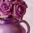 Lavender Roses And Tea Pot by Sandra Foster