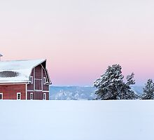 Red Barn in the Snow by RondaKimbrow