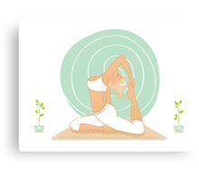 Beautiful woman doing yoga practice Canvas Print