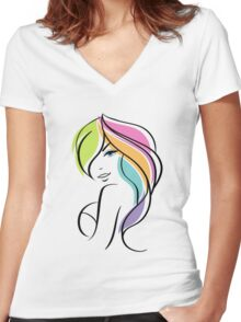 Beautiful woman Women's Fitted V-Neck T-Shirt