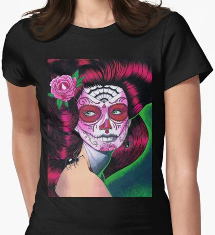 Sugar Skull Pink Womens Fitted T-Shirt